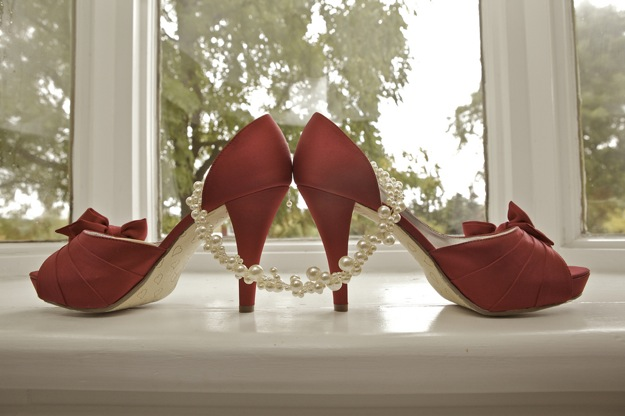 red shoes and necklace for bridal accessories