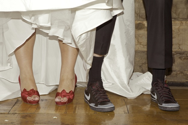 shoes on bride and groom