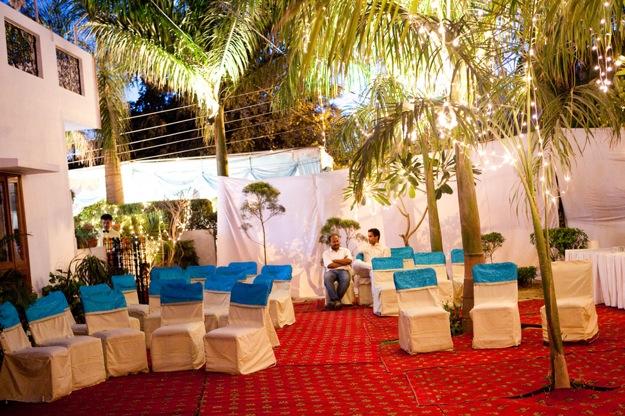 evening outdoor wedding