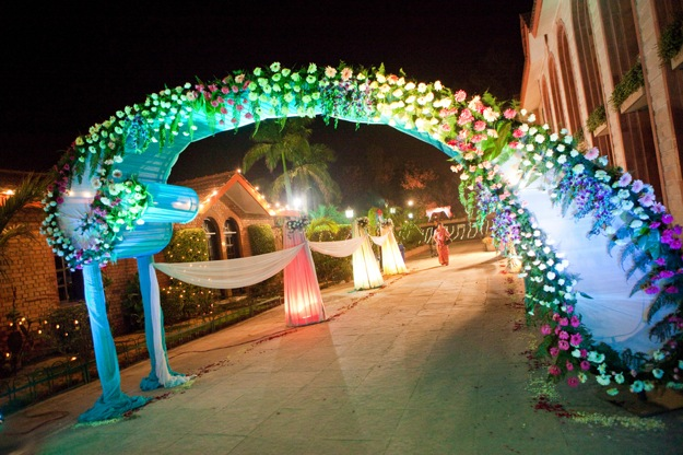 wedding with multicolored lighted walkway