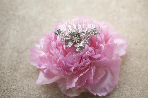 pink flower with tiara