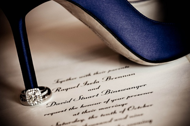 blue wedding shoe and diamond engagement ring