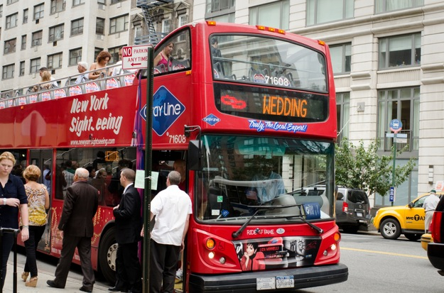 bus hired to transport wedding guests to wedding