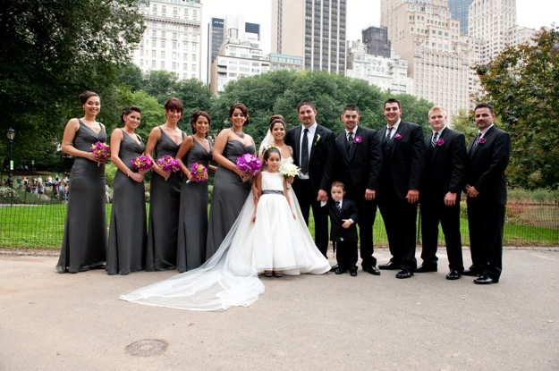 large wedding party in New York's Central Park