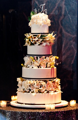 wedding cake with four tiers and fall decorations