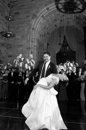 bride and groom dance with dip