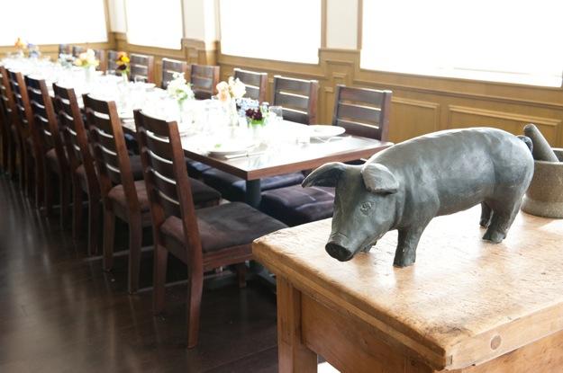 brown california restaurant table set for wedding