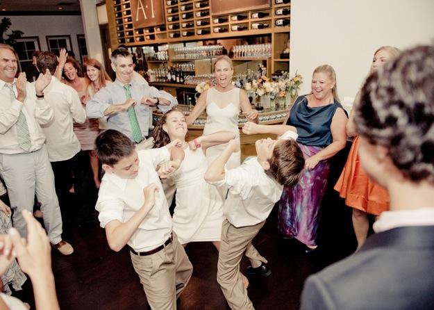 bride and groom's children dance at wedding