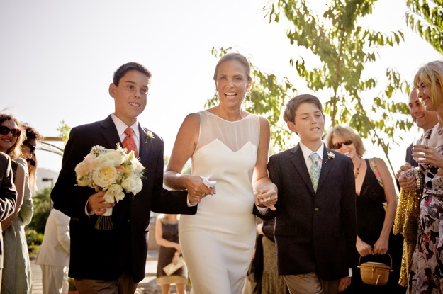 sons walk mother down the aisle for her wedding