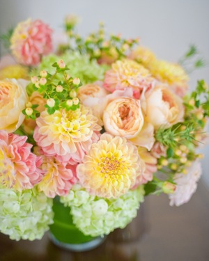 unusual pink, orange and green bridal bouquet