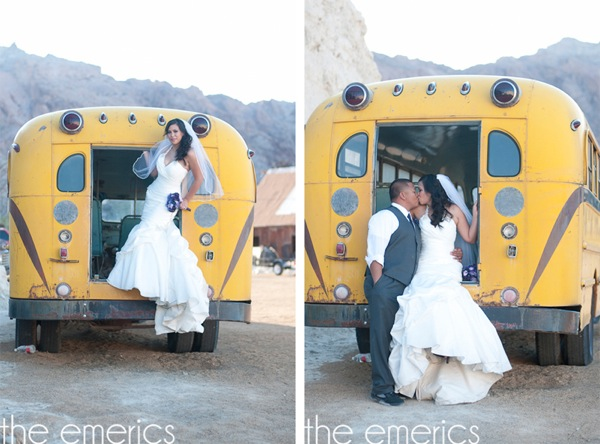 bride and groom with vintage yellow school bus