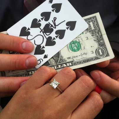engagement ring with playing card