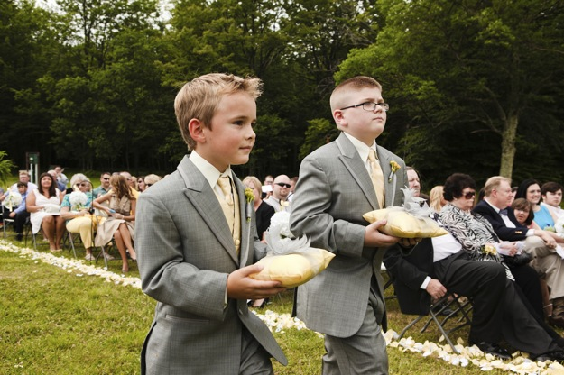 young ring bearers outside wedding