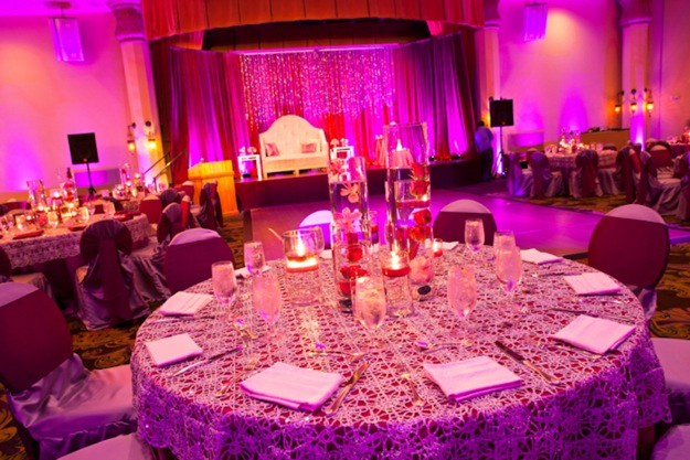 Indian wedding tablescape pink and purple