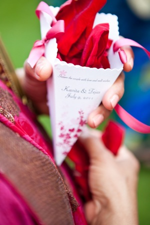 paper cone of flower petals for wedding