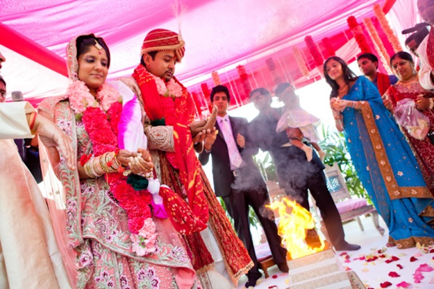 wedding ceremony of Indian couple