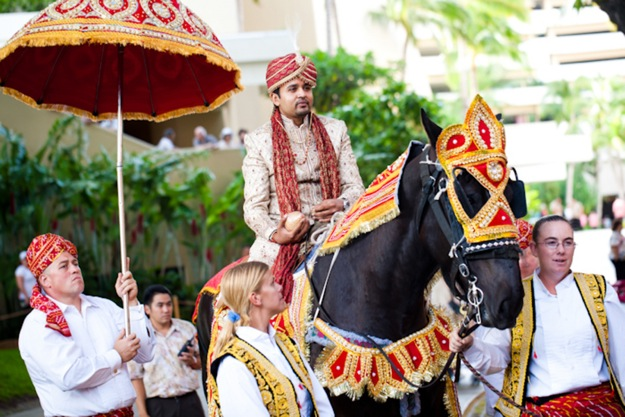 Indian Groom comes to wedding on horse