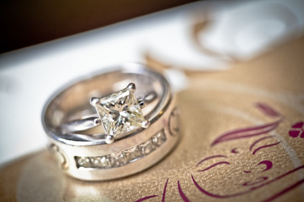wedding and engagement rings in white gold
