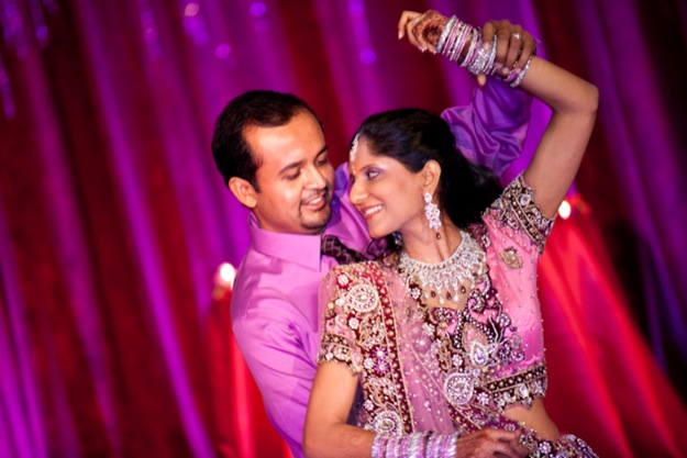Indian wedding couple dances