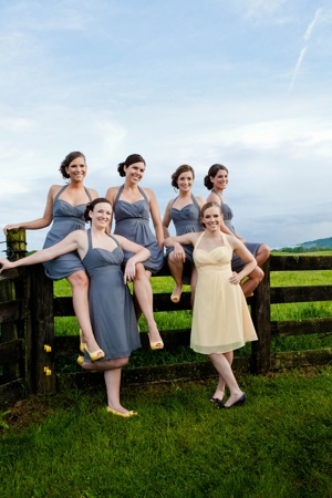 bridesmaids in yellow and grey