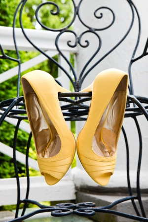 bridal shoes in yellow