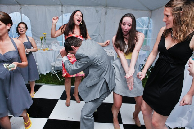 funky bridesmaids dancing at wedding
