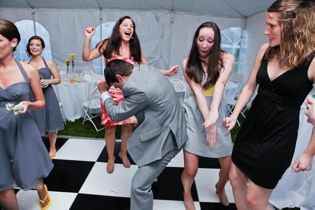 funky bridesmaids dancing at wedding