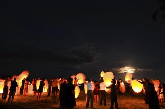 end of wedding lanterns