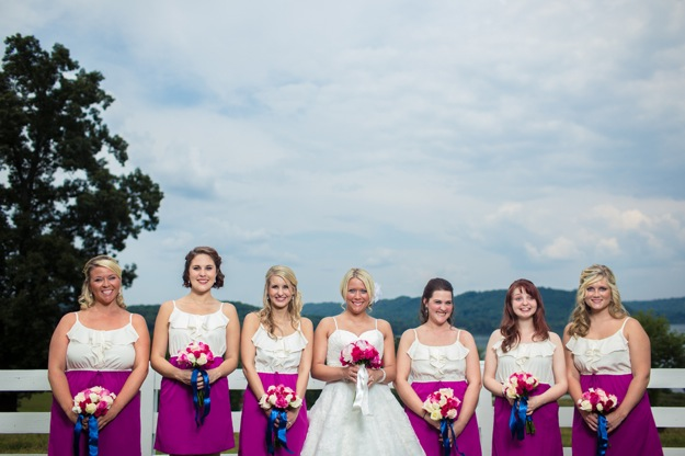 pink and white bridesmaids dresses
