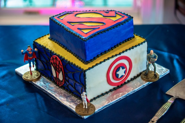 groom's cake with super heroes