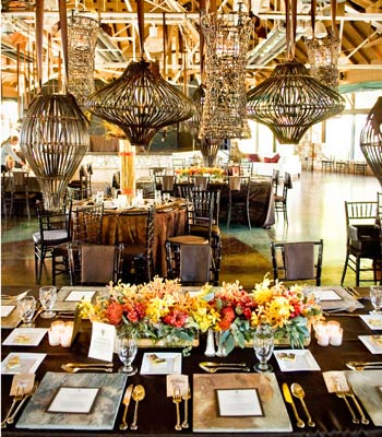 wedding table decorated for ritzy ranch wedding