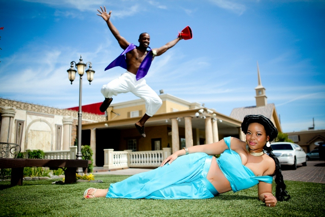 wedding photography bride and groom in Aladdin costumes, groom jumps over bride
