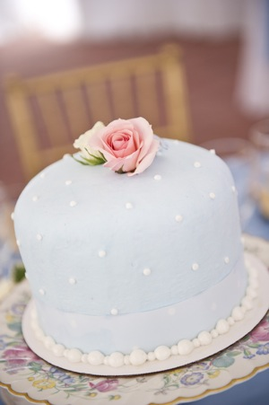 one layer blue wedding cake with pink rose