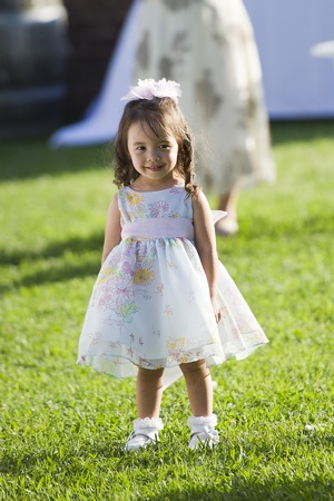 wedding photography small flower girl in flowered dress