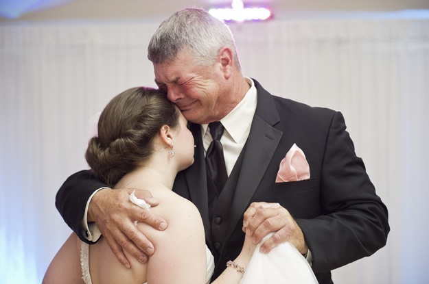 father daughter dance causes bride and father to cry