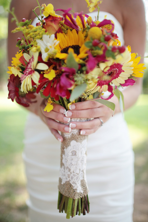 red and yellow wildflower wedding bouquet