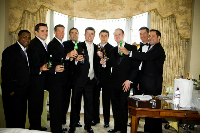 groomsmen with beer