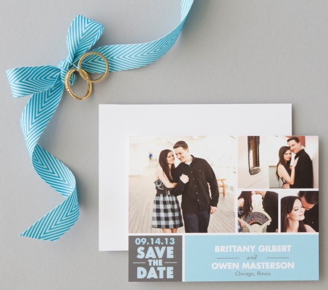 Blue save the date with picture