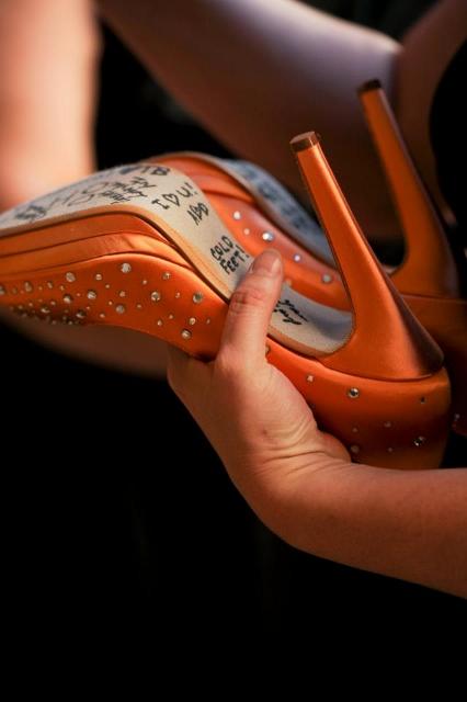 tangerine wedding shoes signed on bottom