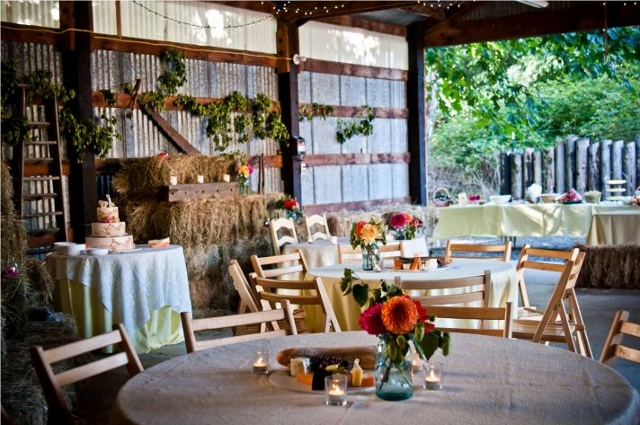 rustic chic wedding reception tables