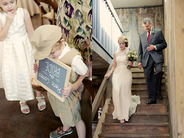 children and bride in flowy dress at hipster wedding