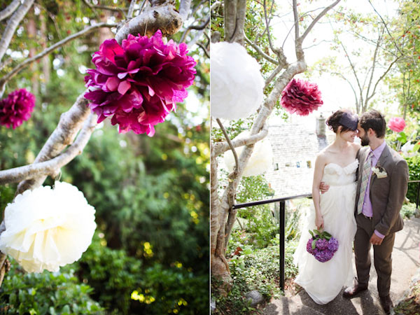 bright purple and large white flowers for hipster wedding