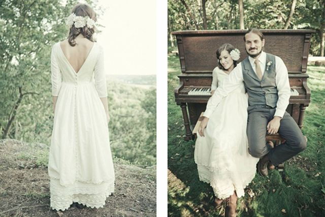 wedding photography of hipster bride in flowing dress
