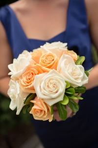bridesmaid bouquet in orange and white
