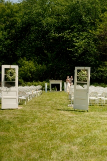 doors marking off wedding space at outdoor wedding