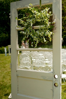 outdoor wedding seating idea with door
