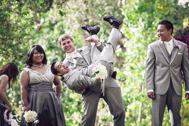 groomsmen playing outside