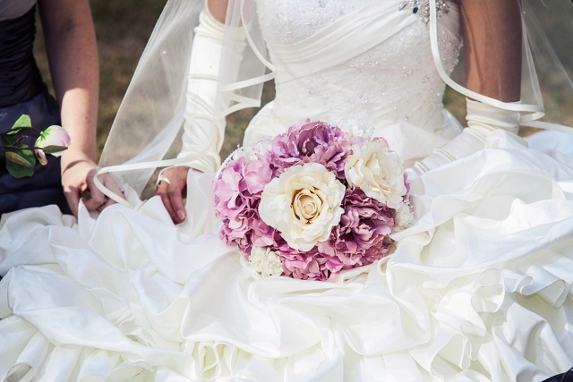 purple, pink, and white bridal bouquet