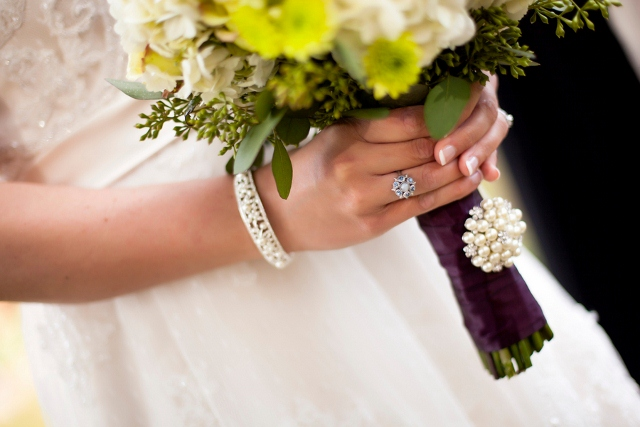 fall bridal bouquet with bridal jewelry