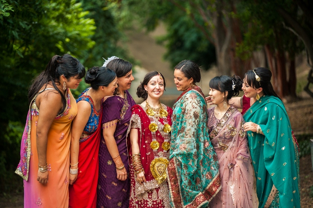 bridesmaids and bride in traditional Indian dress